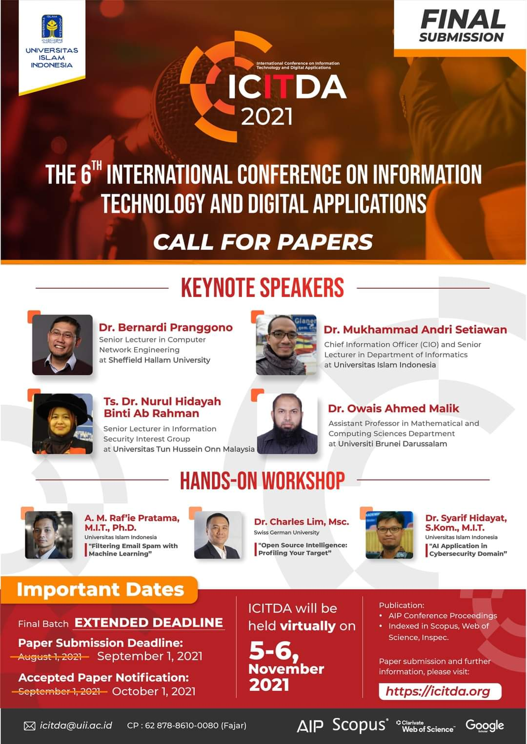 The 6th International Conference on Information Technology and Digital Applications (ICITDA 2021)