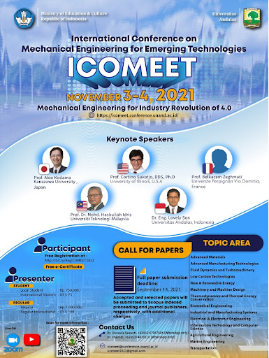 INTERNATIONAL CONFERENCE ON MECHANICAL ENGINEERING FOR EMERGING TECHNOLOGIES (ICOMEET)